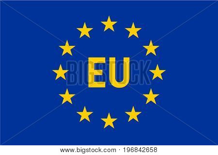 Flag of European Union, EU. Twelve gold stars on blue background with EU label in the middle. Vector illustration.
