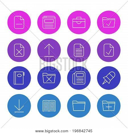 Editable Pack Of Journal, Book, Add And Other Elements.  Vector Illustration Of 16 Office Icons.
