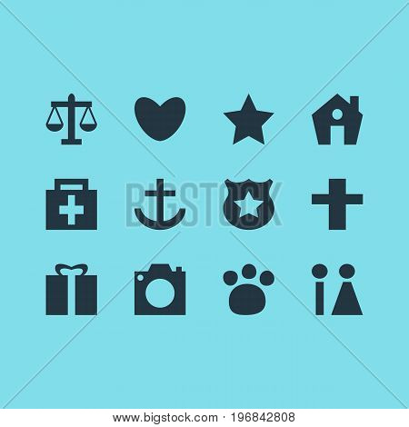 Editable Pack Of Bookmark, Anchor, Scales And Other Elements.  Vector Illustration Of 12 Location Icons.