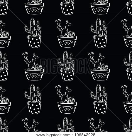 Vector Black And White Seamless Pattern With Cactuses And Succulents In Pots. Modern Scandinavian De