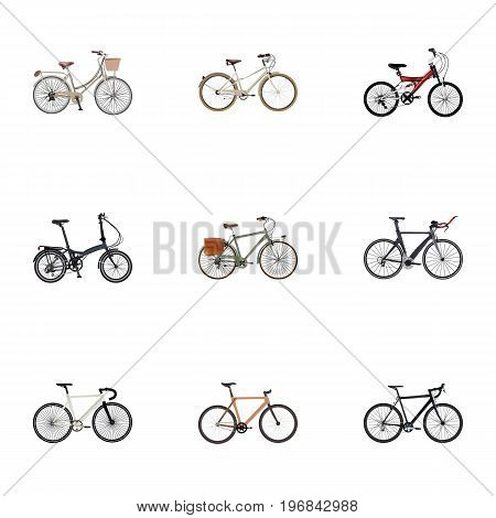 Realistic Old, Road Velocity, Folding Sport-Cycle And Other Vector Elements