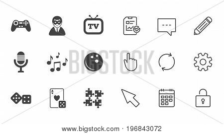 Entertainment icons. Game, bowling and puzzle signs. Casino, carnival and musical note symbols. Chat, Report and Calendar line signs. Service, Pencil and Locker icons. Click, Rotation and Cursor