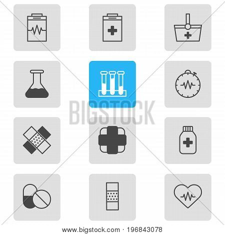Editable Pack Of Antibiotic, Heart Rhythm, Patch And Other Elements.  Vector Illustration Of 12 Health Icons.