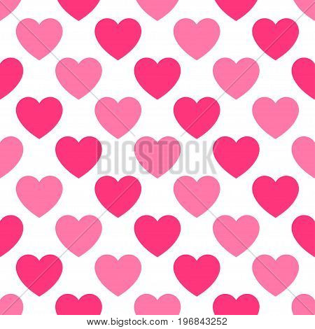 Pattern with pink hearts on white background