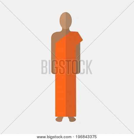 Buddhist monk. Vector sign for web graphics.