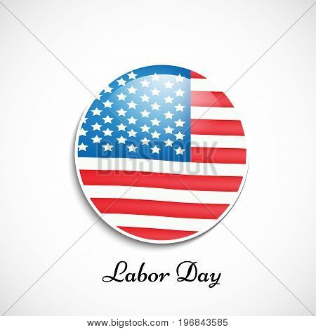 illustration of button in USA flag background with Labor Day text on the occasion of Labor Day