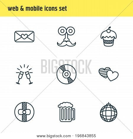Editable Pack Of Goblet, Muffin, Nightclub Ball And Other Elements.  Vector Illustration Of 9 Banquet Icons.