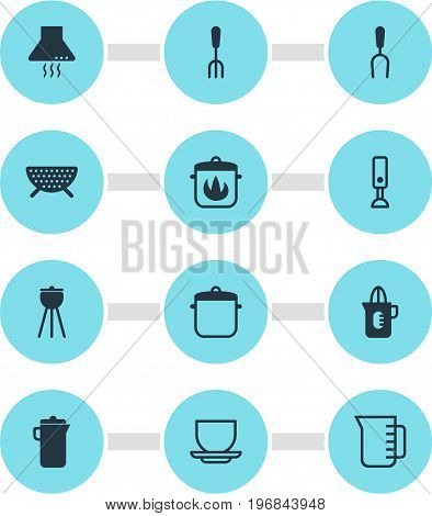 Editable Pack Of Mixer, Stewpot, Barbecue And Other Elements.  Vector Illustration Of 12 Restaurant Icons.