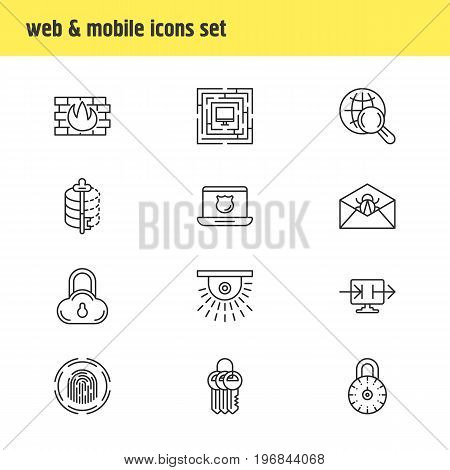 Editable Pack Of System Security, Encoder, Data Security And Other Elements.  Vector Illustration Of 12 Privacy Icons.