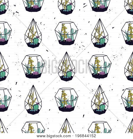 Vector Colorful Hand Drawn Seamless Pattern With Cactuses And Succulents In Terrariums On Grunge Tex