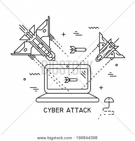 Vector thin line illustration on the theme of cyber attack hacking. Fighter planes flying and shooting at the laptop.
