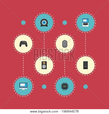 Flat Icons Display, Web Cam, Microprocessor And Other Vector Elements