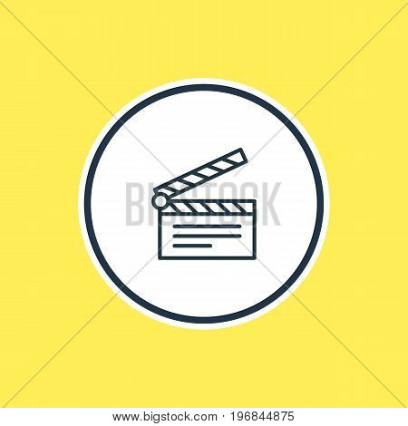 Beautiful Cinema Element Also Can Be Used As Clapper Element.  Vector Illustration Of Clapperboard Outline.
