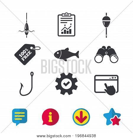 Fishing icons. Fish with fishermen hook sign. Float bobber symbol. Browser window, Report and Service signs. Binoculars, Information and Download icons. Stars and Chat. Vector