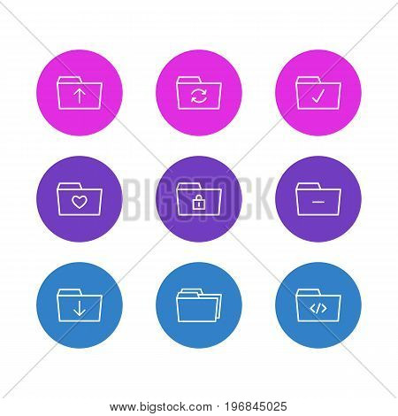 Editable Pack Of Minus, Recovery, Closed And Other Elements.  Vector Illustration Of 9 Document Icons.