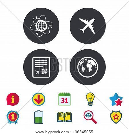 Airplane icons. World globe symbol. Boarding pass flight sign. Airport ticket with QR code. Calendar, Information and Download signs. Stars, Award and Book icons. Light bulb, Shield and Search. Vector