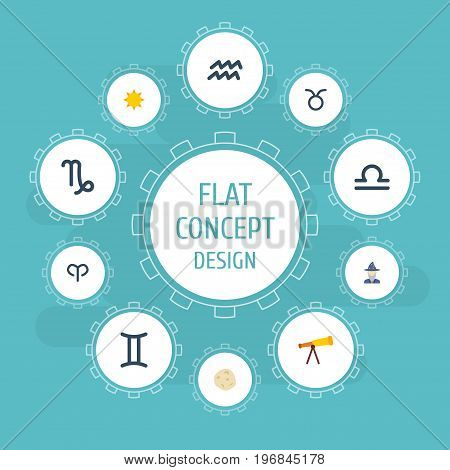 Flat Icons Bull, Scales, Ram And Other Vector Elements