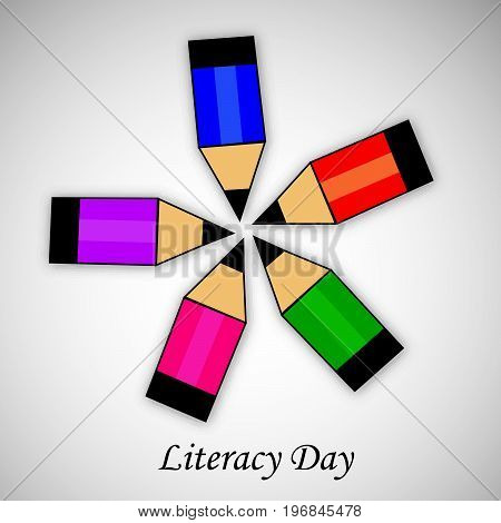 illustration of pencils with literacy day text on the occasion of Literacy Day