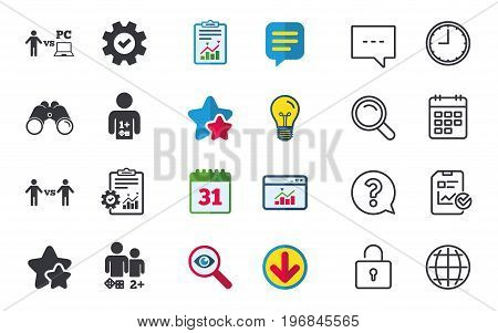 Gamer icons. Board and PC games players signs. Player vs PC symbol. Chat, Report and Calendar signs. Stars, Statistics and Download icons. Question, Clock and Globe. Vector