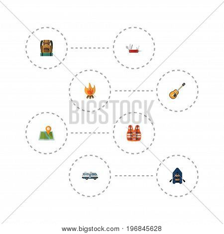 Flat Icons Caravan, Ship, Lifesaver And Other Vector Elements