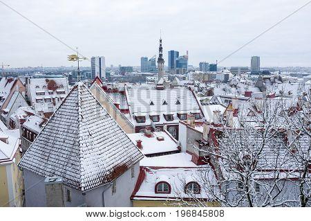 TALLINN ESTONIA - FEBRUARY 23 2016: Panoramic view of Old Town in Tallinn Estonia. Old Town is listed in the UNESCO World Heritage List