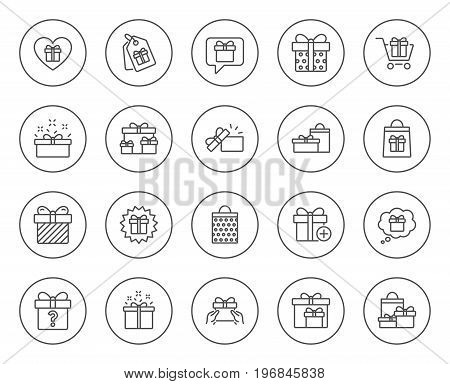 Gifts line icons. Set of Present box, Offer and Sale signs. Shopping cart, Tags and Chat symbols. Speech bubble, Give a gift and Question mark. Circle buttons with linear elements. Editable stroke