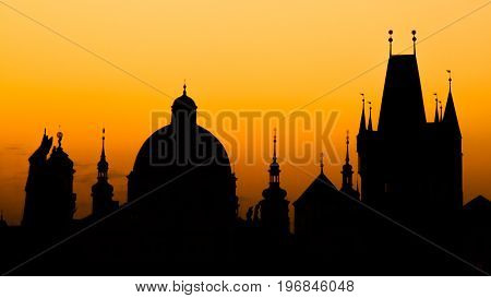 Charles Bridge at sunset time, Old Town of Prague, Czech Republic.