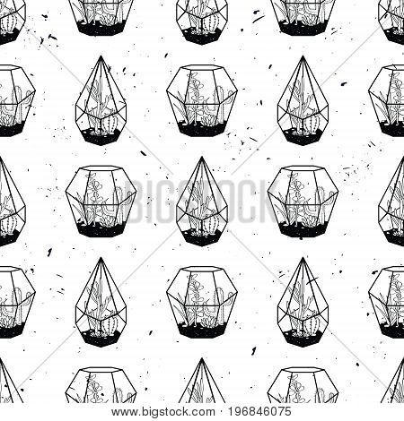 Vector Black And White Hand Drawn Seamless Pattern With Cactuses And Succulents In Terrariums On Gru