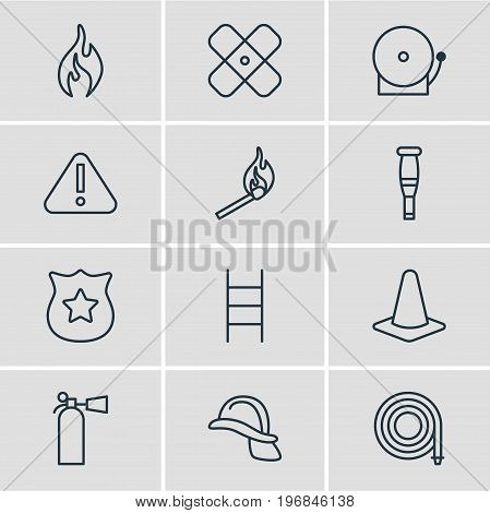 Editable Pack Of Badge, Siren, Safety And Other Elements.  Vector Illustration Of 12 Emergency Icons.