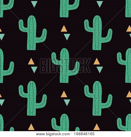 Vector Seamless Pattern With Cactuses And Triangles. Modern Design For Fashion, Print, Poster, Card,