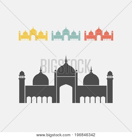 Badshahi Mosque. Vector sign for web graphics.
