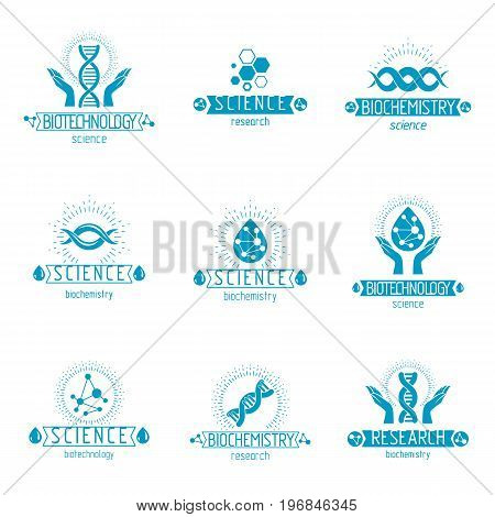 Set of vector models of molecule and human dna. Collection of corporate logotypes created in biomedical engineering genetics molecular genetics and biotechnology concepts.