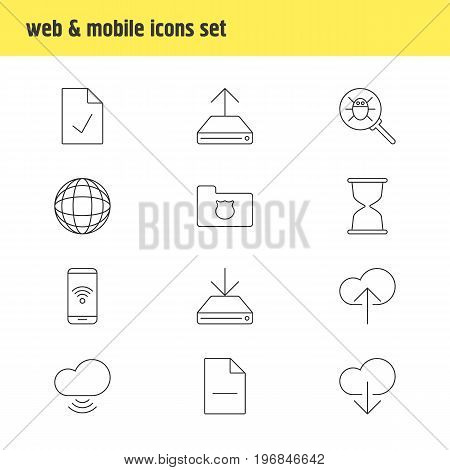 Editable Pack Of Sandglass, Bug, Telephone Elements.  Vector Illustration Of 12 Internet Icons.