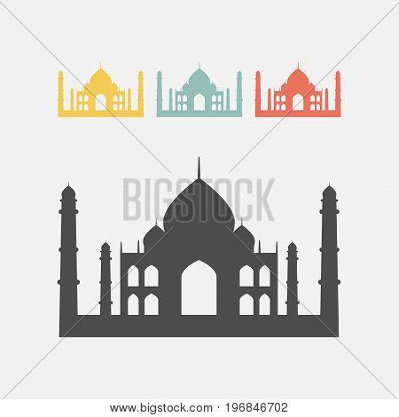 Taj Mahal silhouette icon. Vector sign for web graphics.