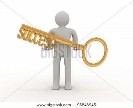3D Man And Key With Word Success . 3D Rendered Illustration