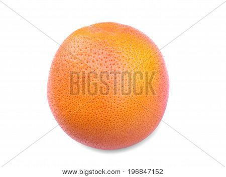 Perfectly whole and round grapefruit, isolated on a white background. One of the best grapefruit that you have seen.Delicious fresh grapefruit full of nutrients. Freshness, health, vitamin concept.