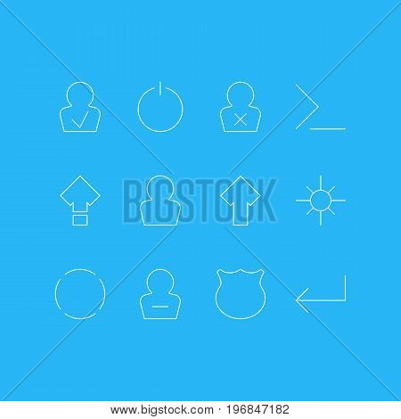 Editable Pack Of Switch Off, Remove User, Accsess And Other Elements.  Vector Illustration Of 12 UI Icons.