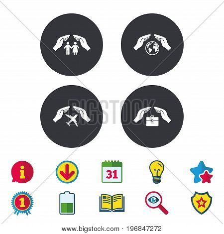 Hands insurance icons. Human life insurance symbols. Travel flight baggage symbol. World globe sign. Calendar, Information and Download signs. Stars, Award and Book icons. Vector