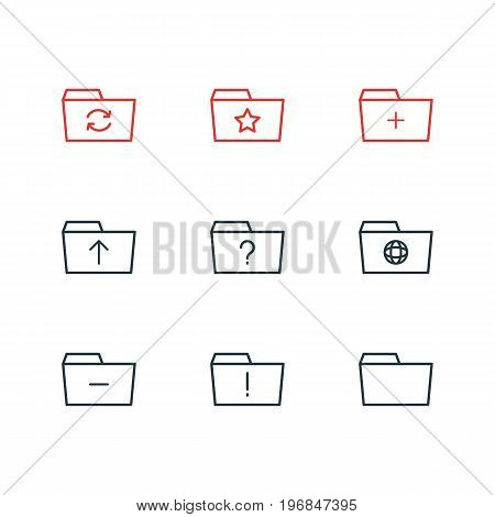Editable Pack Of Submit, Minus, Recovery And Other Elements.  Vector Illustration Of 9 Dossier Icons.