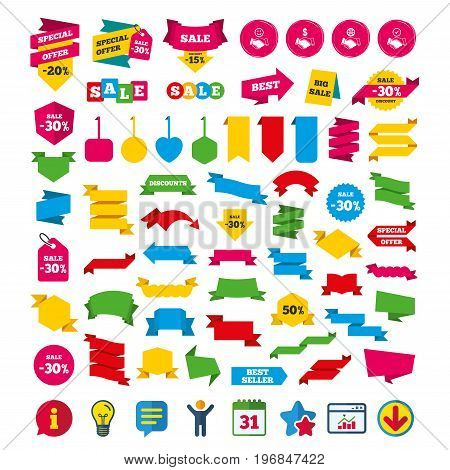 Handshake icons. World, Smile happy face and house building symbol. Dollar cash money. Amicable agreement. Shopping tags, banners and coupons signs. Calendar, Information and Download icons. Vector
