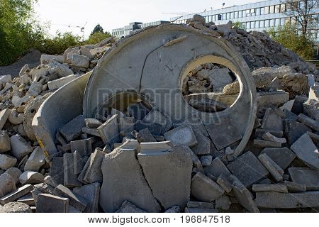 Construction rubble and  waste at demolition area