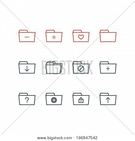 Editable Pack Of Question, Upload, Plus And Other Elements.  Vector Illustration Of 12 Folder Icons.