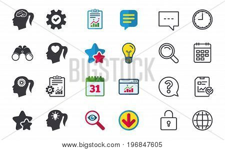 Head with brain and idea lamp bulb icons. Female woman think symbols. Cogwheel gears signs. Love heart. Chat, Report and Calendar signs. Stars, Statistics and Download icons. Question, Clock and Globe