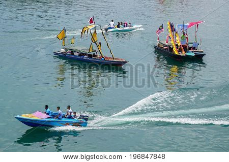 Semporna,Sabah,Malaysia-Apr 22,2017:View of traditional Sea Bajau's boat known as Lepa-Lepa decorated with colorfull Sambulayang during Regata Lepa-Lepa in Semporna,Sabah,Malaysia