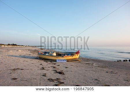 Small Boat With Equipment At Hiddensee Island Beach Germany