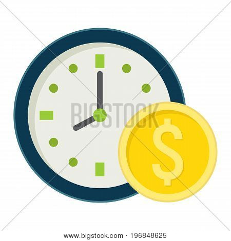 Time Is Money flat icon, business and finance, coin sign vector graphics, a colorful solid pattern on a white background, eps 10.