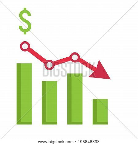 Declining graph flat icon, business and finance, chart sign vector graphics, a colorful solid pattern on a white background, eps 10.