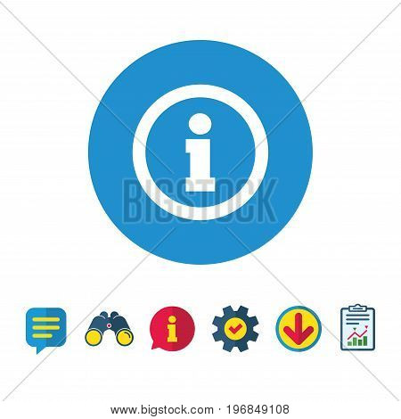 Information sign icon. Info symbol. Information, Report and Speech bubble signs. Binoculars, Service and Download icons. Vector