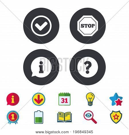 Information icons. Stop prohibition and question FAQ mark signs. Approved check mark symbol. Calendar, Information and Download signs. Stars, Award and Book icons. Light bulb, Shield and Search