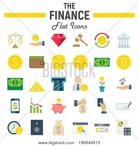 Finance flat icon set, business symbols collection, marketing vector sketches, logo illustrations, business signs. colorful solid pictograms package isolated on white background, eps 10.